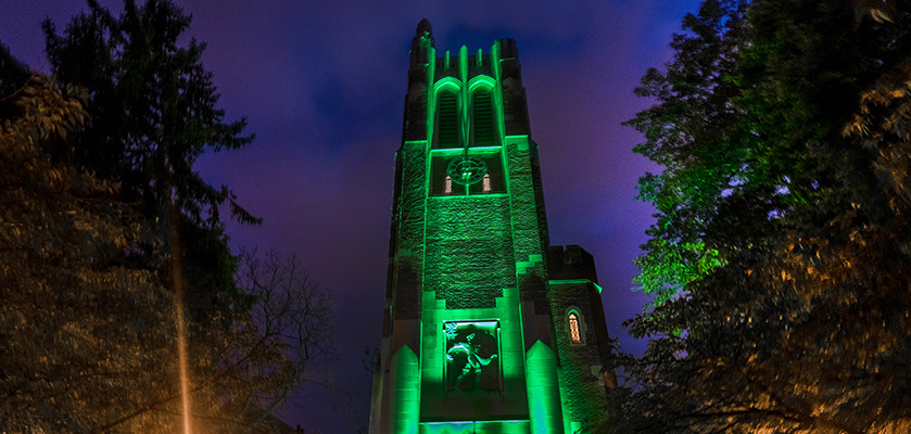 Beaumont Tower glowing green