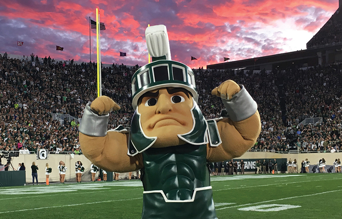 Sparty at sunset football game
