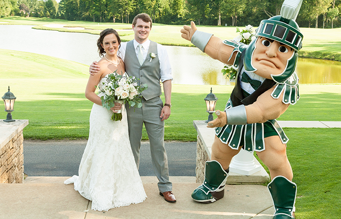 Sparty with a married couple