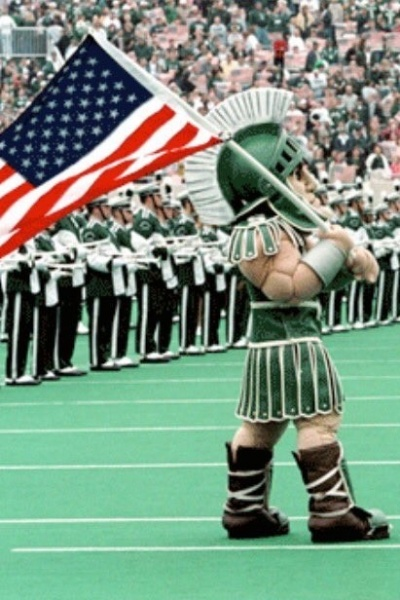 Sparty with American Flag